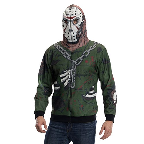 Freitag der 13. Jason Voorhees Kostüm Kappu-Jacke Horror Kostüm für Halloween und Karneval - (Kostüm Friday The Party 13th)