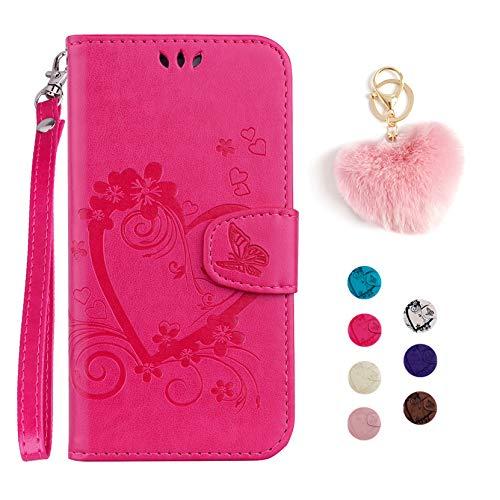Kawaii-Shop Samsung Galaxy S5 Hülle Ledertasche Flip Case Rose Rot Schutzhülle Magnetverschluss Kartensteckplätze Wallet Cover+Herzförmiger Plüsch Schlüsselanhänger
