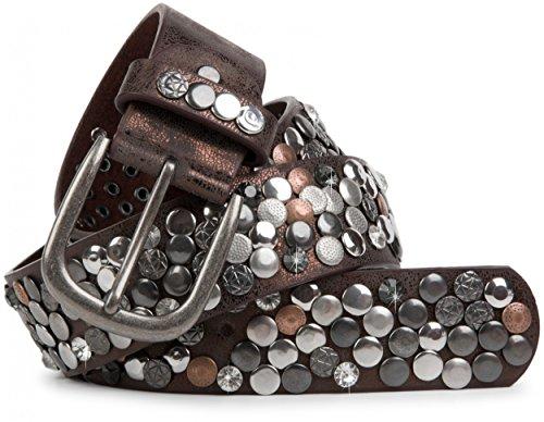 styleBREAKER Nietengürtel im Vintage Design mit echtem Leder, verschiedenen Nieten und Strass, kürzbar, Damen 03010051, Farbe:Antik-Dunkelbraun;Größe:95cm -