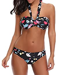 Venta caliente ! Longra ✿ Conjunto de halter bikini de impresión floral push-up de mujer / ropa de baño bohemia / tangas y tops de bikini / Trajes de baño (M ❤️, Multicolor)