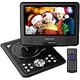 """DBPOWER Reproductor de DVD Portátil de 9.5"""" con Pantalla Giratoria, 5 Horas recargable incorporada de la batería, Compatible con Tarjetas SD y USB, con el cargador del coche y dispositivo de juego - Negro"""