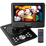 9.5'' Tragbarer DVD-Player, 5 Stunden Akku, schwenkbaren Bildschirm, unterstützt SD-Karte und USB, mit Spiele-Joystick, Auto-Ladegerät-Schwarz