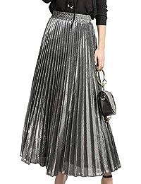 42955e9560d Musfeel Women s Pleated Skirt Velvet Long Elastic High Waist Swing  Beachskirt Plus Size