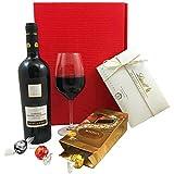 Geschenkset Wein & Pralinen | Geschenkkorb gefüllt mit Rotwein aus Italien und Lindt Schokolade