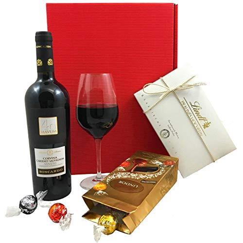 Geschenkset Wein & Pralinen   Geschenkkorb gefüllt mit Rotwein aus Italien und Lindt Schokolade - Geschenk Gourmet Edelbitter-schokolade