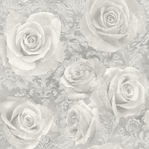 Grey flower wallpaper amazon arthouse wallpaper reverie silver 623303 full roll mightylinksfo