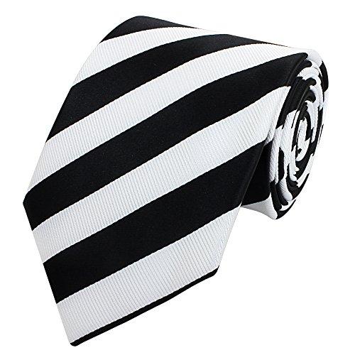 Farbe Krawatte Schwarzes Hemd (Gestreifte 8-CM Herren Krawatten von Fabio Farini, in verschiedenen Farben für alle Anlässe, Schwarz-Weiß gestreift)