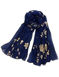 LadyMYP 180cm * 90 cm Schal, Stola mit gestickter Rose, Baumwolle gemischt, mehrere Farben zur Wahl