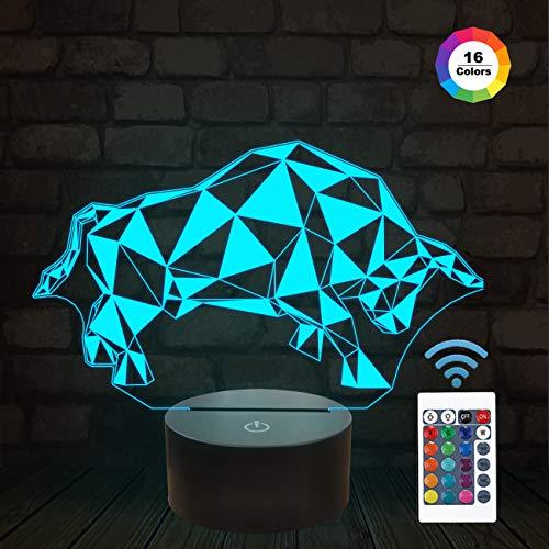 FULLOSUN 3D Nachtlicht für Kinder Bull 3D Lampe Nachttisch mit Fernbedienung 16 Farbwechsel Weihnachten Halloween Geburtstagsgeschenk Spielzeug für Kind Baby Boy -