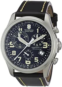 Victorinox Swiss Army - 241314's Watch Quartz Chronograph Leather Strap Black