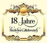 10 St. Aufkleber Original RAHMENLOS® Design: Selbstklebendes Flaschen-Etikett zum 18. Geburtstag: Herzlichen Glückwunsch!