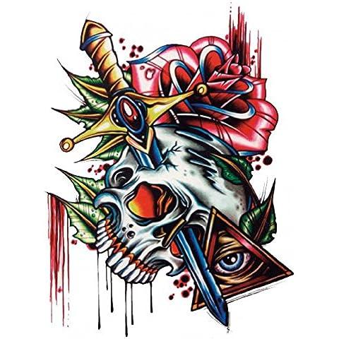 Hierba (Sunshine Halloween Tattoo para adultos schrecklich cráneo con Rose rojos y espada realista y falso Tatuajes temporales