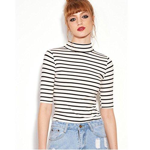 HCFKJ 2017 Mode Damen Schwarz Weiß Gestreift T-Shirt Hohen Hals Slim Bluse Tops (S)