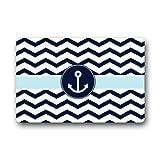 Proud Clothing Stolze Kleidung Custom Waschmaschine gewaschen navy blau und weiß Chevron mit Anker Indoor/Outdoor Decor Teppich Fußmatte 59,9cm (L) X 39,9cm (W) Vlies Stoff rutschfeste