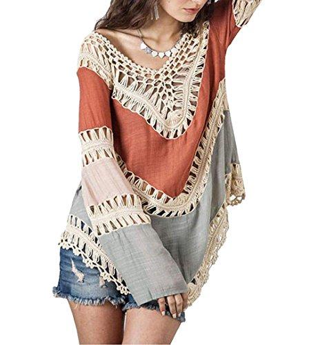 Donne Crochet Bikini camicetta boho spiaggia lavorato a maglia Top Cover Up Swimsuit Red Taglia unica