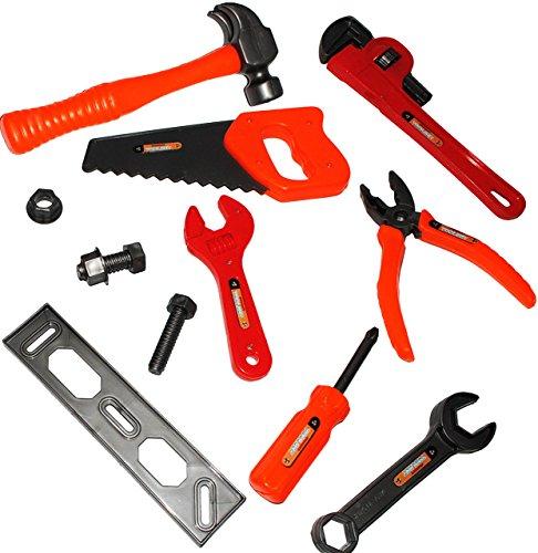 Unbekannt 12 TLG. Set -  Werkzeug - aus Kunststoff / Plastik  - für Kinder - Kinderwerkzeug - Rohrzange - Holzstück - Hammer Zange Säge - Schraube & Mutter - Maulschl..