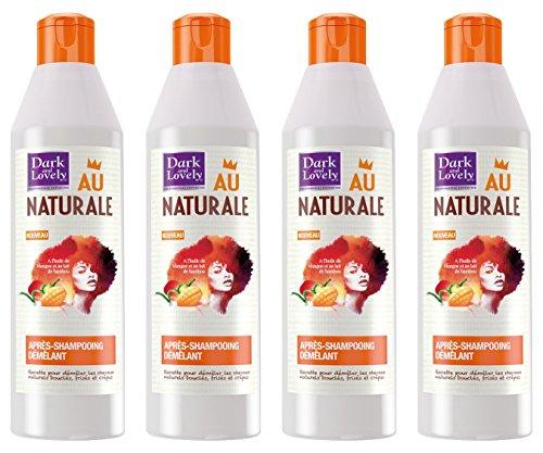 Dark & Lovely - Après Shampooing Démêlant au Naturale pour Cheveux Crépus, Frisés, Bouclés Naturels à l'Huile de Mangue et Lait de Bambou - 250ml - Lot de 4