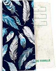 Protège livret de famille Bistrakoo Plumes grises et bleues LF6030