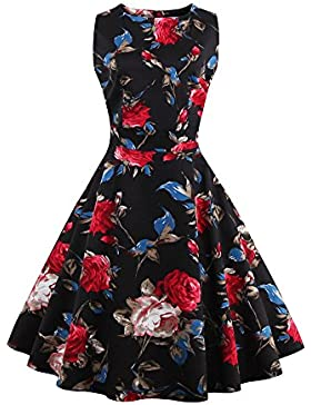 Botomi 50 'vintage Elegante Floral Mujeres Sin Mangas Vestido de Fiesta, 08.S Black, 4XL