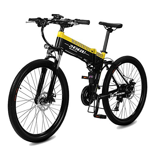 51BDsjiWiYL. SS500  - MERRYHE Folding Electric Mountain Bicycle 240W 48V 10AH Removable Li-Battery Cruiser Bike 27 Speeds Beach Snow Road Bikes Disc Brakes Full Suspension 26 Inch Tire