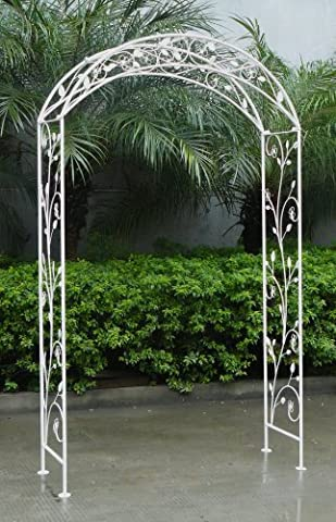 Charles Bentley Garden Wrought Iron Garden Arch Outdoor Archway - Distressed White