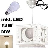 LED Lampe Kinderzimmer Decke Pendelleuchte Sterne Mond 63232e Dimmbar neutralweiß 1000lm Mädchen & Jungen