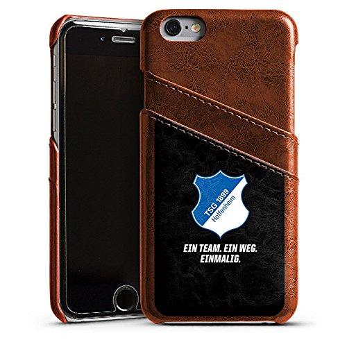 Apple iPhone 7 Lederhülle Leder Case Leder Handyhülle TSG Hoffenheim Fanartikel 1899 Fußball Leder Case Kastanienbraun