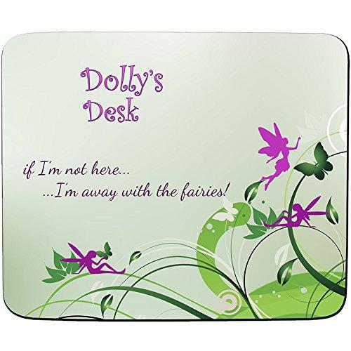 Dolly'Schreibtisch-Away mit Feen-Motiv, personalisierbar, Name und Mauspad, Premium, 5) mm dick (Schreibtisch Dolly)