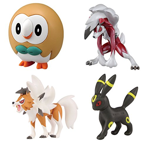 Pokemon Monster Collection EX Ash Ketchum VS Gladion (Gladio) Battle Set Rowlet (Bauz) [Neue Pose] - Umbreon (Nachtara) - Lycanroc (Wolwerock) [Mitternachtsform und Dämmerungsform] (Japan Ex Pokemon)