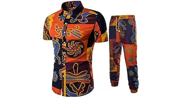 MK988 Tuta da Uomo a Maniche Corte con Stampa Africana Dashiki Camicie e Pantaloni da Jogger 2 Pezzi