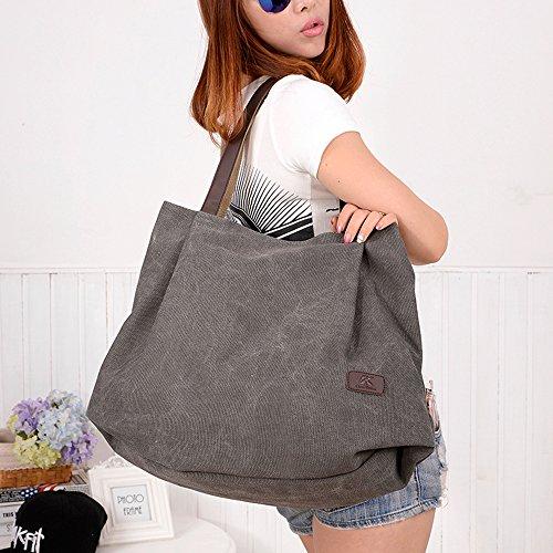 BYD - Damen Large Schule Bag Tote Bag Shopper handtaschen Canvas Bag Reine Farbe Handtaschen Grey