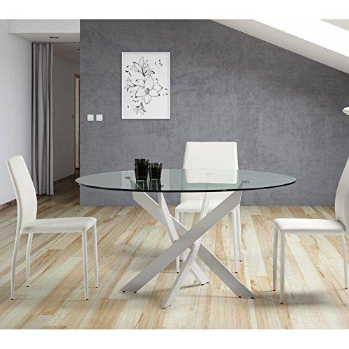 Tousmesmeubles Table de Repas Ronde Blanc 120 cm - FAXOU - L 120 x l 120 x H 76 - Neuf