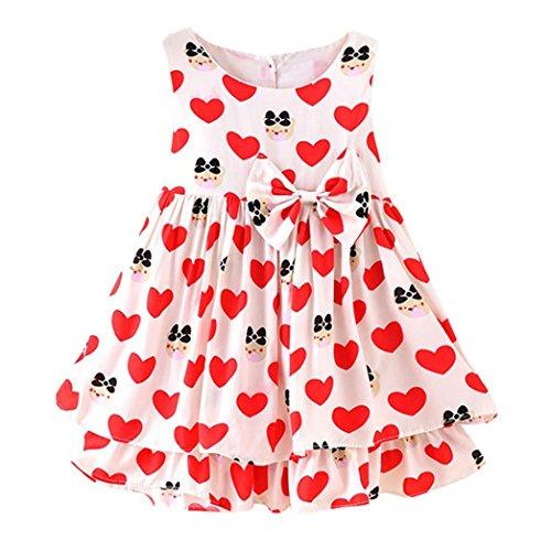 Uomogo® ragazze abiti estate del bambino abito senza maniche floreale neonata casuali sundress 0-24 anni (età: 12 ~ 18 mesi, rosso)