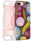 BENTOBEN Coque iPhone 8 Plus, Coque iPhone 7 Plus, Etui iPhone 6S Plus, Résistant Fine avec Motif Fleur et Feuille PC Durable et TPU Flexible pour iPhone 8 Plus/7 Plus/6S Plus/6 Plus, Rouge Foncé