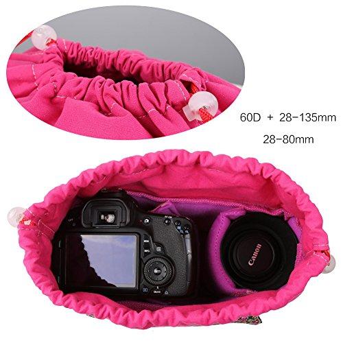 Koolertron Borsa imbottita impermeabile con partizioni antiurto per donne per custodire reflex DSLR TLR o Flash Light Canon5D, 7D, 50D, 60D, Nikon D60, D90, e così via (Nero) Nero