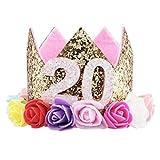 Freebily Serre-tête Homme Femme Couronne D'anniversaire Mariage 20 30ème Ans Brillant Tiara Adulte Bandeau D'anniversaire Soirée Partie Fête Décoration (20 Ans, Fleur Rose)