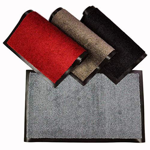 WohnDirect Fußmatte für Innen mit Rand - Schmutzfangmatte für die Haustür - rutschfest und waschbar - Fussmatte in versch. Größen - Door Mat - 70x120 cm - Grau