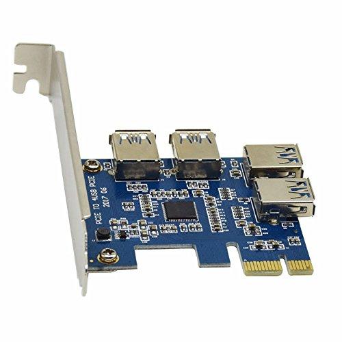 4 Puertos USB 3.0 Tarjeta PCIe Supervelocidad, 1 vuelta Adaptador 4PCI