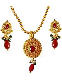 Surat Diamonds Colour Stone & Gold Plated Pendant Necklace & Earring Set For Women (PS327)