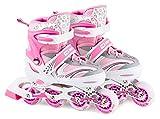 HS HOP-SPORT Hop-Sport 3in1 Inliner Inlineskates/Roller/Triskates für Kinder/Verstellbar/Farbe Weiß-Pink - M 34-38 (Pink M)