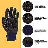 Pets kingdom Premium Fellpflege Handschuhe für Hunde und Katzen - Tierbürste zur angenehmen Massage + Pflege Ihrer Haustiere - Hundebürste Katzenbürste Massagehandschuh (Blau) - 3