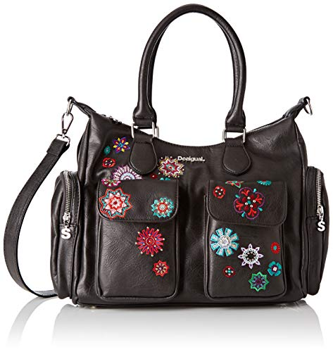 Desigual Damen Bag Rep Nanit London Negro Umhängetasche, Schwarz, 15.5x25.5x32 cm