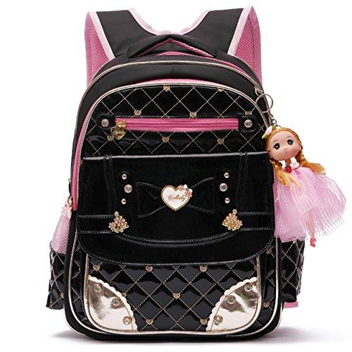 Girls Rucksack für die Schule Nette Schule Satchel Rucksäcke für Kinder (Schwarz, L) -