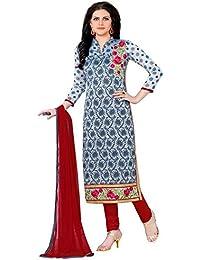 Jheenu Women's Grey Glass Cotton Unstitched Dress Materials