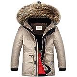 ZOEREA Kinder Jungen Daunenjacke Super Warme Winterjacke Verdickte Schneejacke Mantel Outerwear mit Fellkapuze