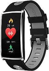 Torus Pro, braccialetto per il fitness, modello N68, colorenero e grigio, dotato di cardiofrequenzimetro, monitoraggio della saturazione di ossigeno e della pressione sanguigna, pedometro, monitoraggio del sonno, con schermo a colori, app per il telefono, ricarica USB