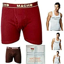 Amul Macho trunk Pack of 2 trunk with 3 Amul Comfy Vest 1 Hunny CONCEPT 's Hanky.