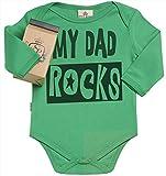 SR - Milchtüte Geschenkbox - My Dad Rocks Baby-Strampler - Strampelanzug - 100% ökologisch - Baby Geschenkset - 6-12 Monate Grün