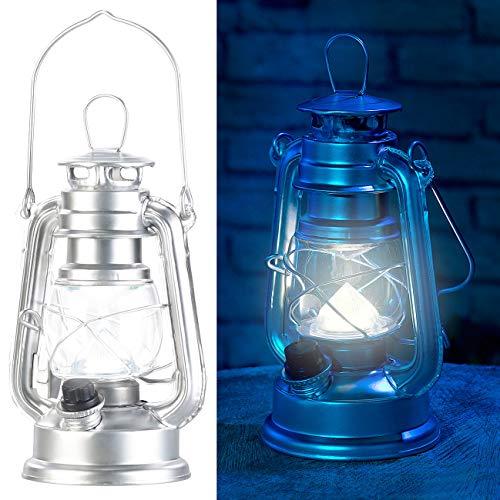 Lunartec Sturmleuchte: Ultra helle Mini-LED-Sturmlampe, Batterie, 200lm, 3W, 8000 K, silbern (Laternen Vintage) - Led-vintage Laterne