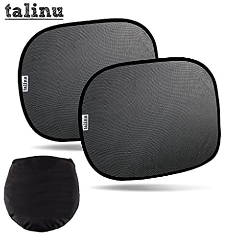 TALINU Car Windscreen Protective Sun-Shades Set of 2 for babies and children with easy to use suction clips and handy storage bag | 2 Year Satisfaction Guarantee | double pack of sun protection side window mesh shields for infants and adults, 2pc window shade sun blockers easy to remove, side-window sun shade blocks UV rays, 2 pack sun blinds for auto